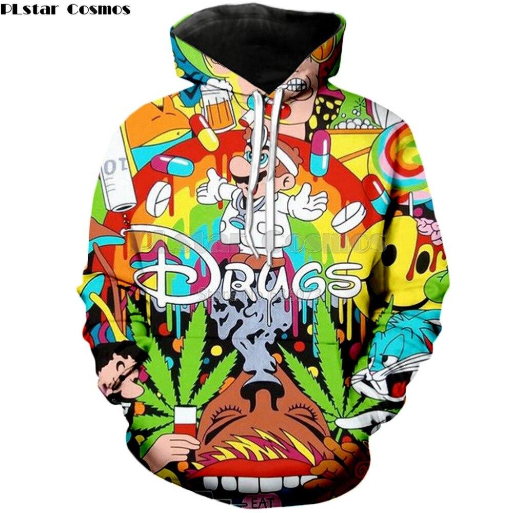 PLstar Cosmos 2019 Autumn New Fashion 3d Hoodies Cartoon Super Mario 3D Print Hooded Sweatshirt Funny Drugs Casual Pullovers