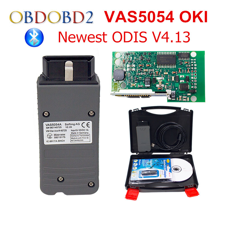 Newest VAS 5054A With OKI Chip VAS5054A Bluetooth ODIS 4.1.3 For VW/AUDI/SKODA/SEAT VAS 5054 Full Chip Support UDS Protocols free ship 2016 newest vas5054a v19 odis 2 0 bluetooth vas5054 vas 5054a with multi language for vw seat skoda diagnostic tool