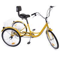 2018 Акция России Shippment 24 дюймов взрослых трехколесный велосипед Trike 3 колеса велосипеда 6 Скорость сдвиг + корзина для покупок