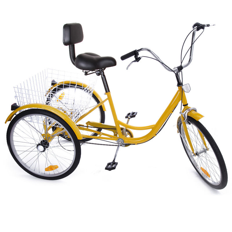 Promotion  24 Inch Adult Tricycle Trike 3 Wheel Bike 6 Speed Shift + Shopping Basket
