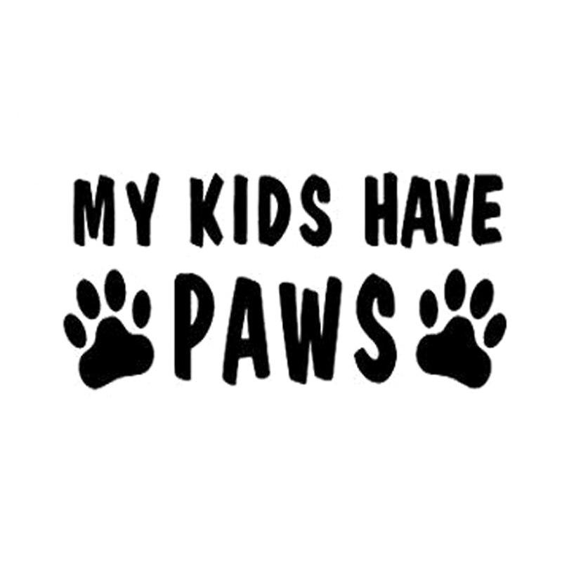 11.3cm*5.6cm My Kids Have Paws Fashion Animal Vinyl Car Sticker Decor S4-0261