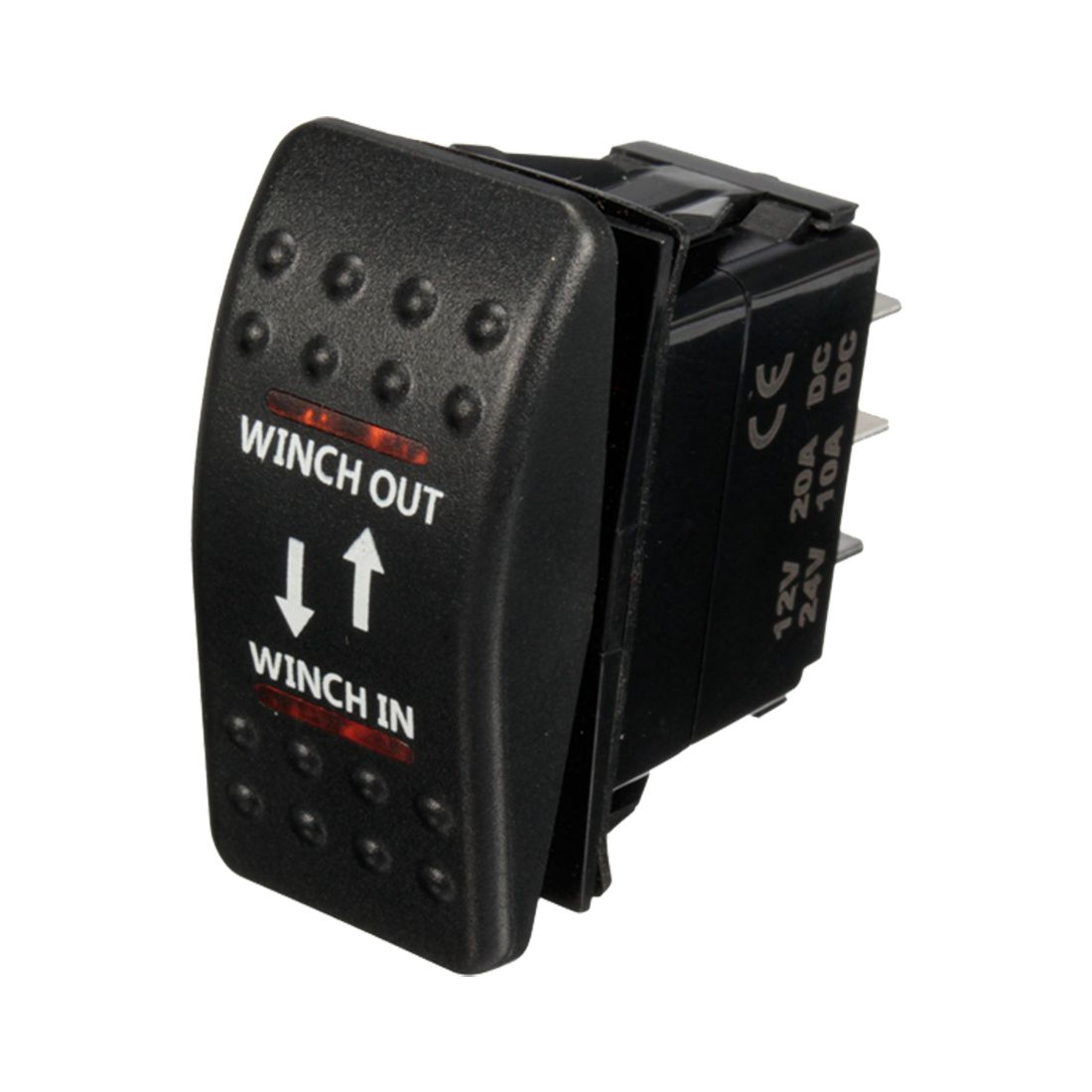 12V 20A Winch In Winch Out ON-OFF-ON Rocker Switch 7 Pin LED RED 1pc rocker switch ac 250v 15a 125v 20a red lamp dpst dpdt 4pin 6pin on off rocker switch