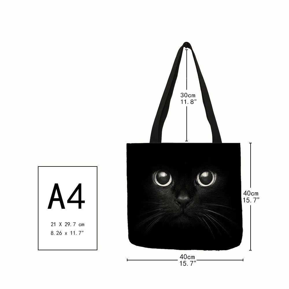 New Lady Sacolas Sumi Black Cat Impresso Tecido De Linho Eco Bolsa de Compras Reutilizável Saco de Ombro Ocasional Do Escritório
