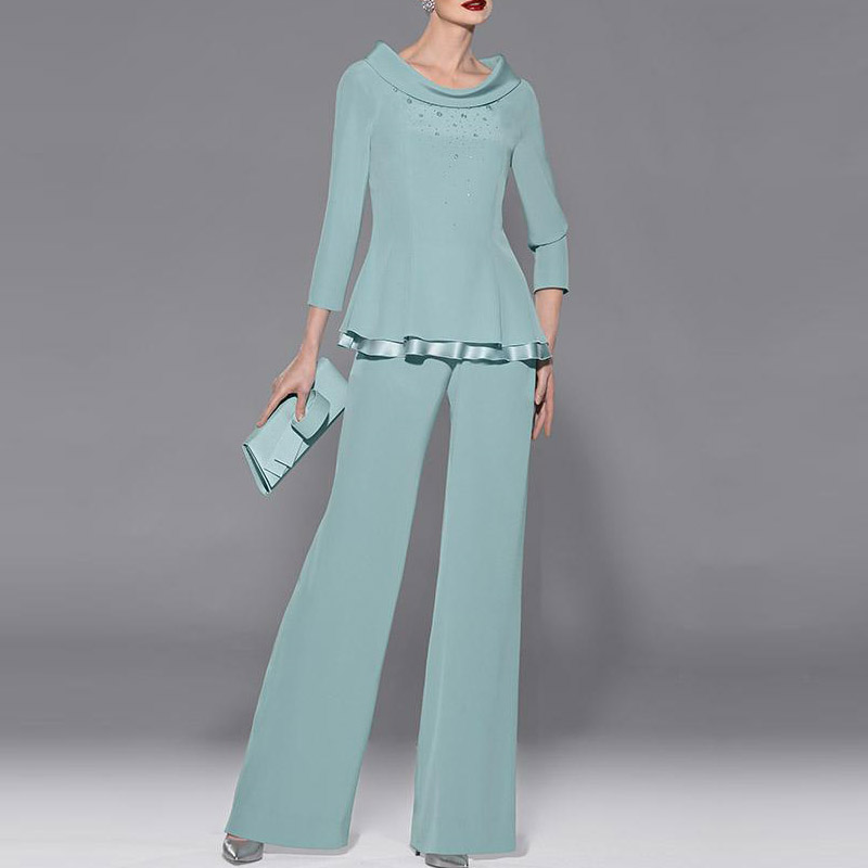 New Fashion Green Two Pieces Chiffon Wedding Pants Suit Mother of the bride Dress Party Gown robe de mere de mariee