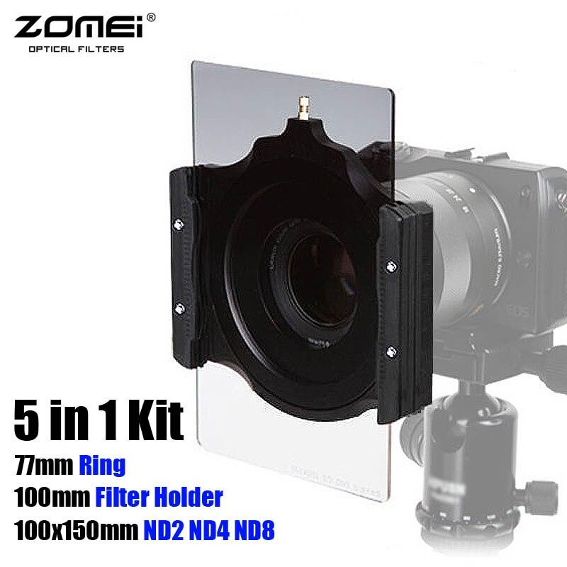 5in1 Zomei Filtre Carré 100x150mm Densité Neutre ND2 ND4 ND8 + 100mm Multifonctionnel Porte-Filtre + 77mm Anneau pour Cokin Z LEE