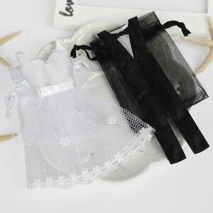 Image 5 - Bolsa de caramelos de Organza con cordón, 50 x esmoquin y 50 x vestido, novia, novio, favores de boda, bolsa de regalo para fiestas WB06, 100 piezas