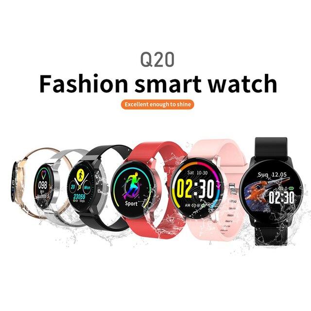 Newwear Q20 smartwatch do mierzenia ciśnienia krwi tętno kobiece Monitor fizjologiczny 1.22 calowy kolorowy ekran bransoleta ze smartwatchem Fitness