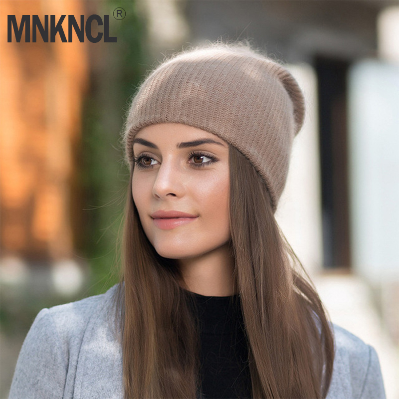 MNKNCL 2018 New Women Autumn Winter Warm Rabbit Fur Knitted Beanies Thick Double Layer Cashmere Skullies Female Hat gorros femininos