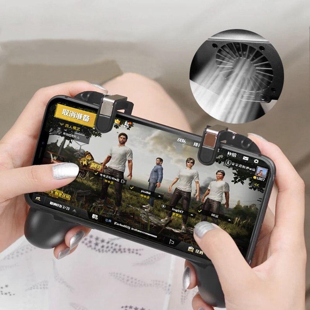 Wiederaufladbare Handy Gamepad Kühler Fan Spiel Grip Joystick trigger Controller l1r1 shooter Feuer Taste Ziel Schlüssel für PUBG