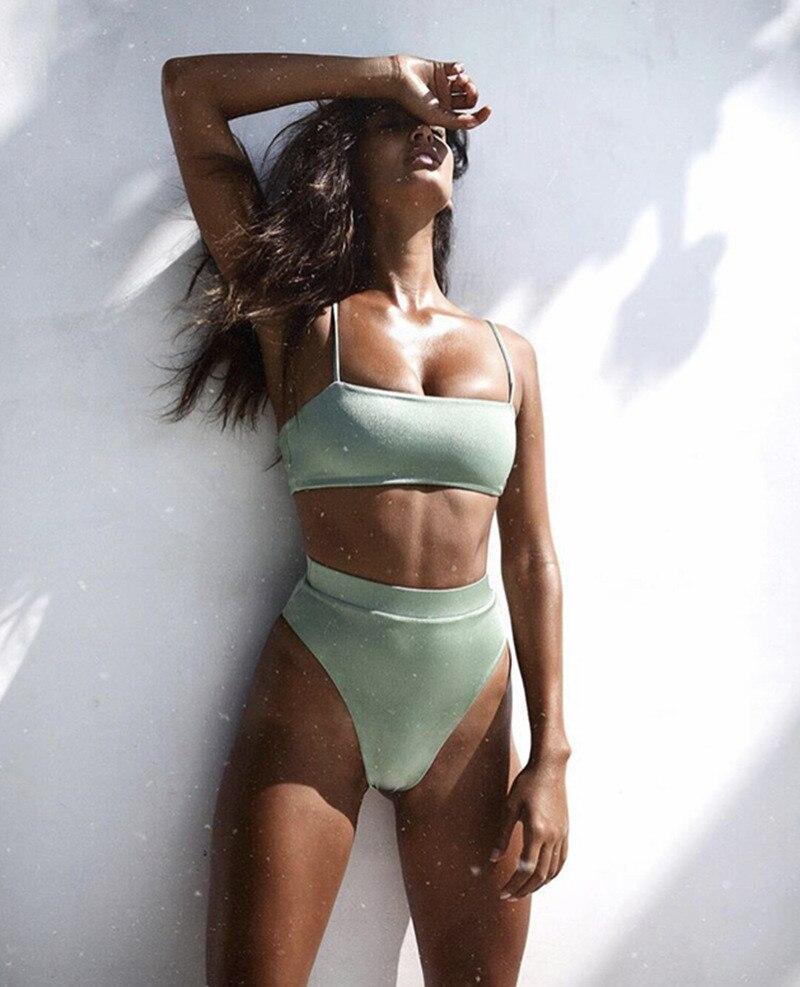 Купальник с высокой талией,, сексуальное бикини для женщин, бразильский купальник, пуш-ап, бандо, топ, плюс размер, низ, бикини, набор, купальники