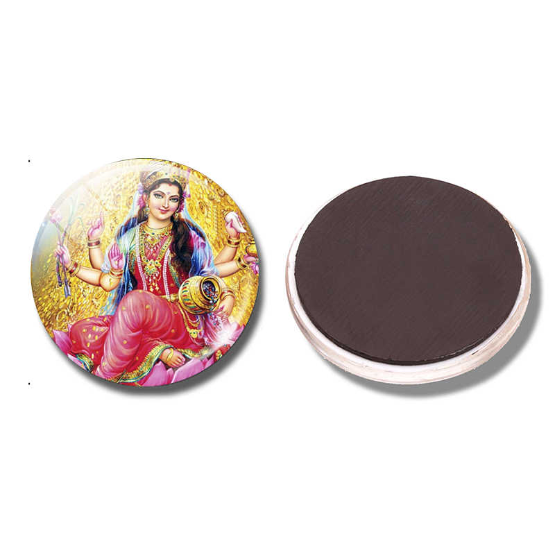 Lakshmi - Magnet Amulet Indian Style Religious Paint 30 MM Fridge Glass Dome Refrigerator Magnetic Holder Home Kitchen Decor