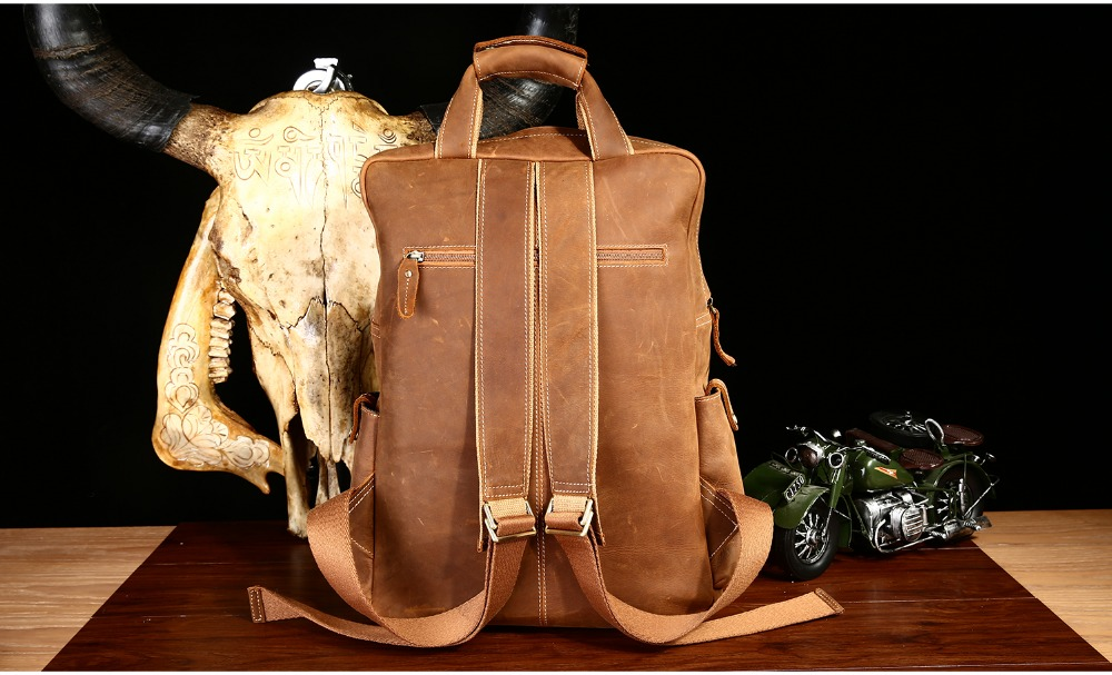 Travel Men Genuine Leather Backpack High Capacity