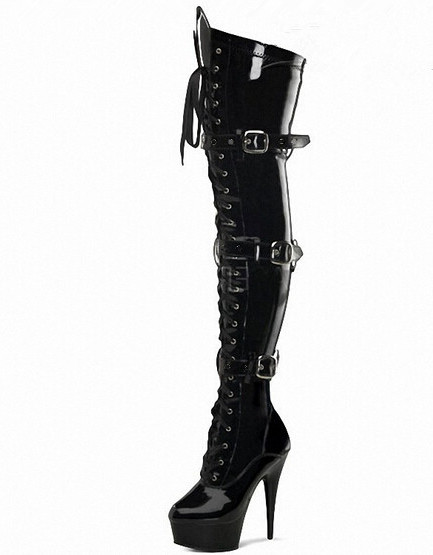 shoes woman 15cm high heels black thigh high boots sexy. Black Bedroom Furniture Sets. Home Design Ideas
