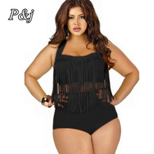 P j 2017 Whole Sale Plus Size Bikini Set Tassel Women Sexy Retro Padded Push Up