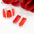 Lucky Mall Hot Sale Jewelry Set Silver Plated Garnet Crystal Earring/Ring Fashion Wedding Party Set Bijoux