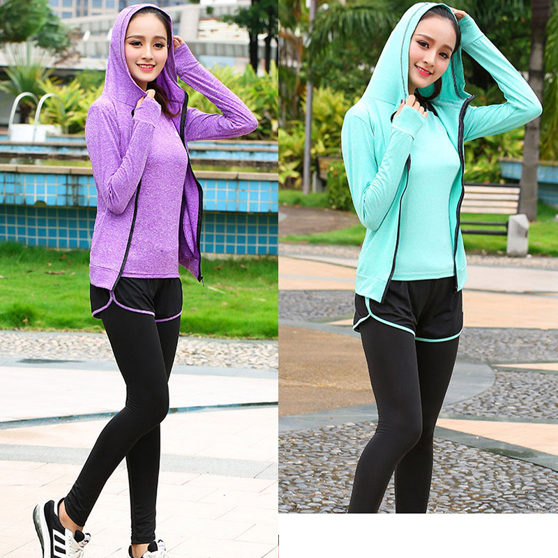 High waist pants hooded jacket T shirt bra yoga women 39 s pants 5 sets of outdoor running quick drying sports fitness suits