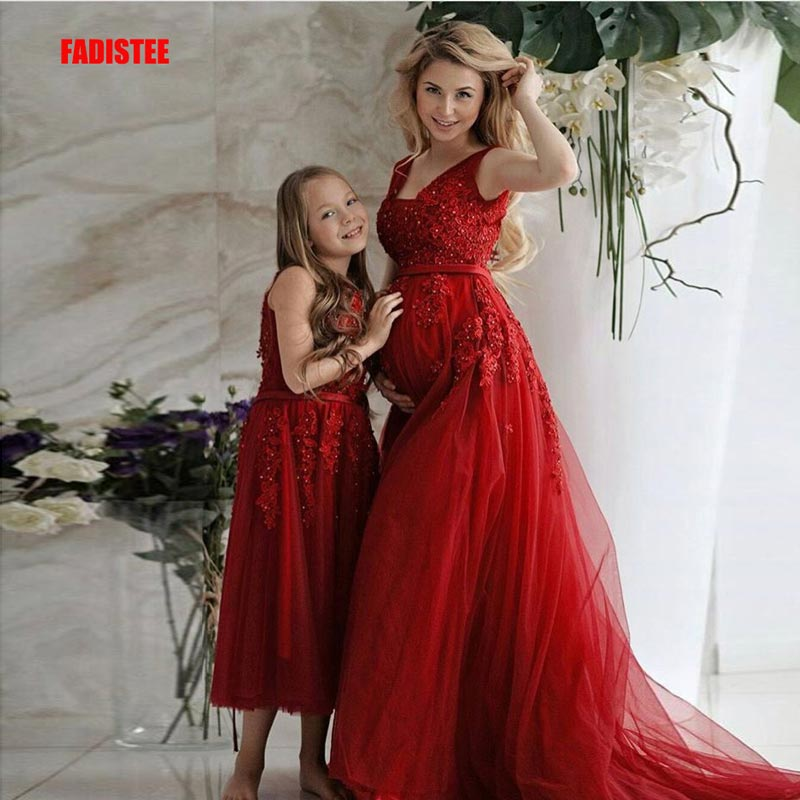 FADISTEE New arrive party   prom     dress   Vestido de Festa luxury long high waist little flower girls   dress   pregnant women 2 pieces