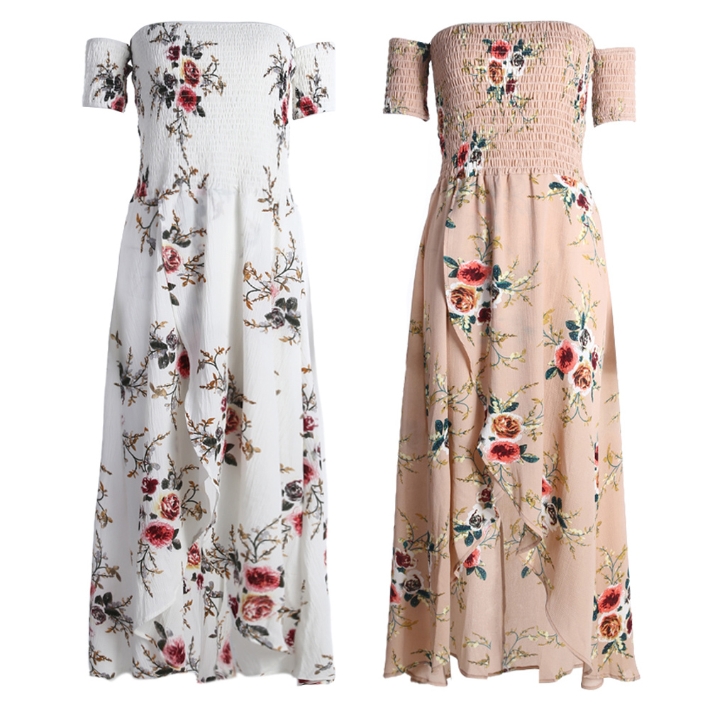 Womens Summer Dress Boho off Shoulder Floral Print Beach Maxi Long Dress Female Elegant Bohemian Chiffon Vocation Beach Dress