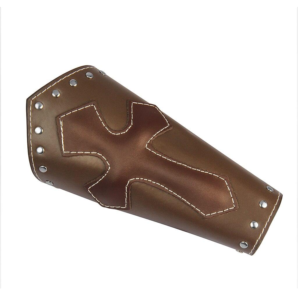 Men Women PU Leather Lace Up Wristband Unisex Protective Arm Cross Pattern Biker Medieval Wristband