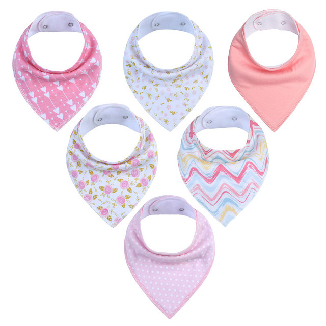6 pcs Baby Bandana Drool Bibs Super  Adjustable 100% Orgonic  Cotton For Girls and Boys Infant Toddler Scarf Baby Bibs