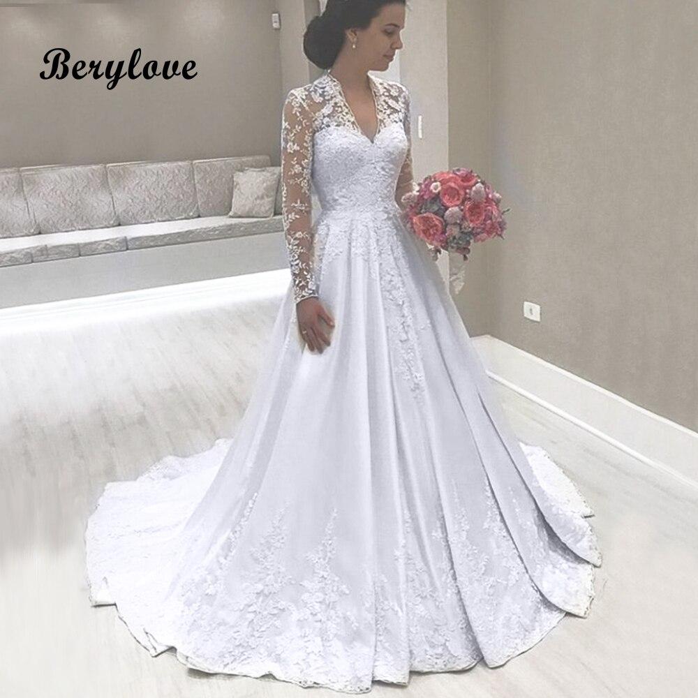 Elegant Silk Wedding Dresses With Sleeves: Aliexpress.com : Buy A Line White Long Sleeves Wedding