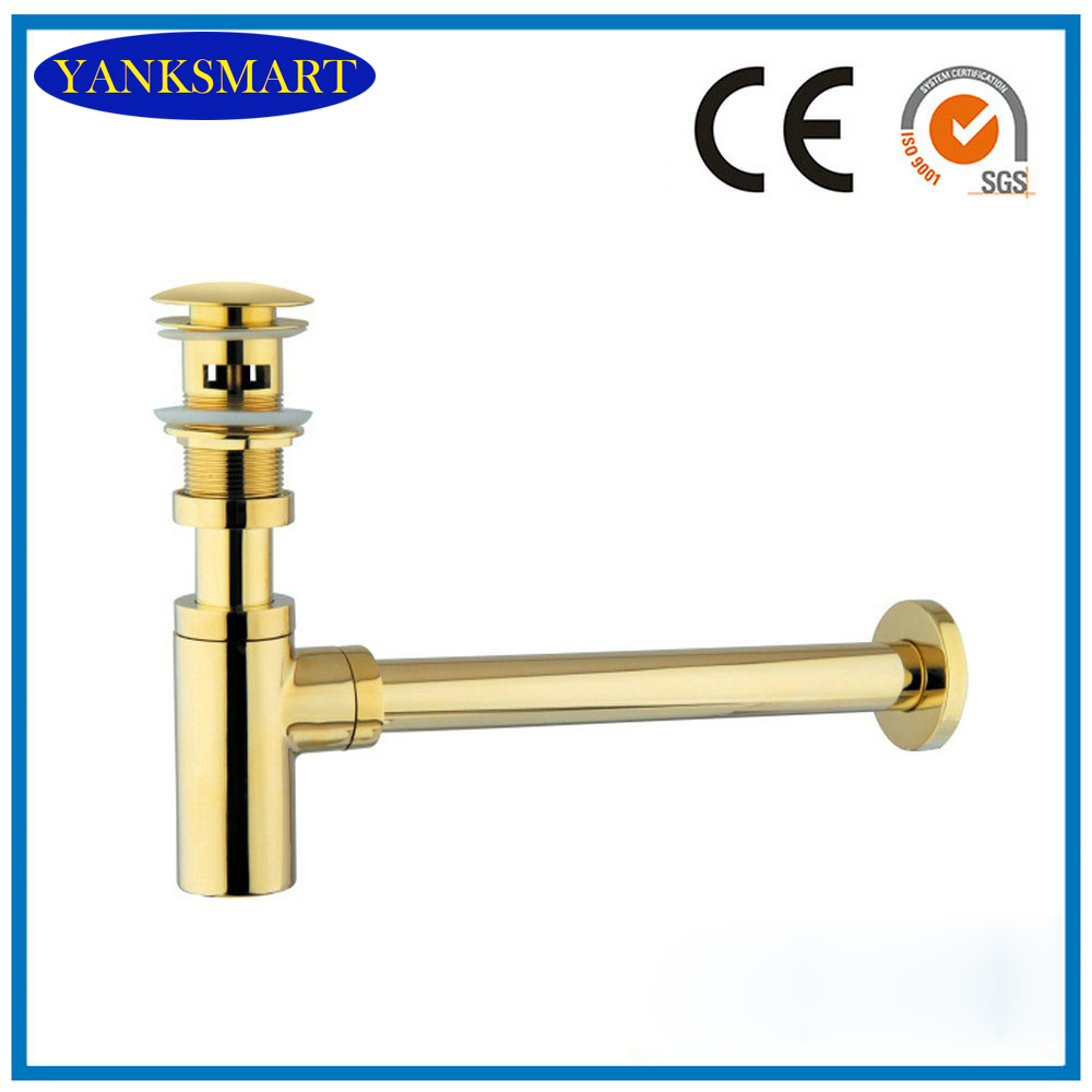 Golden Brass Siphon Bottle Traps Pop up Basin Waste Drain Basin Faucet P-Traps Waste Pipe Into the wall drainage Plumbing tube