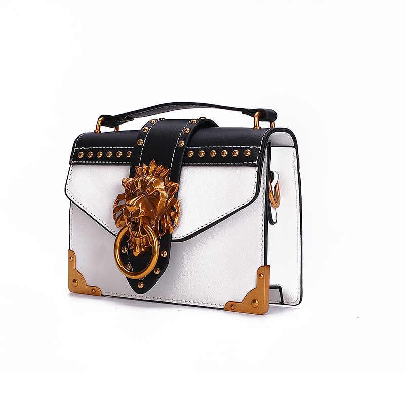 Модная металлическая Львиная головка мини небольшой квадратный пакет сумка через плечо клатч женский дизайнерский кошелек сумки Bolsos Mujer