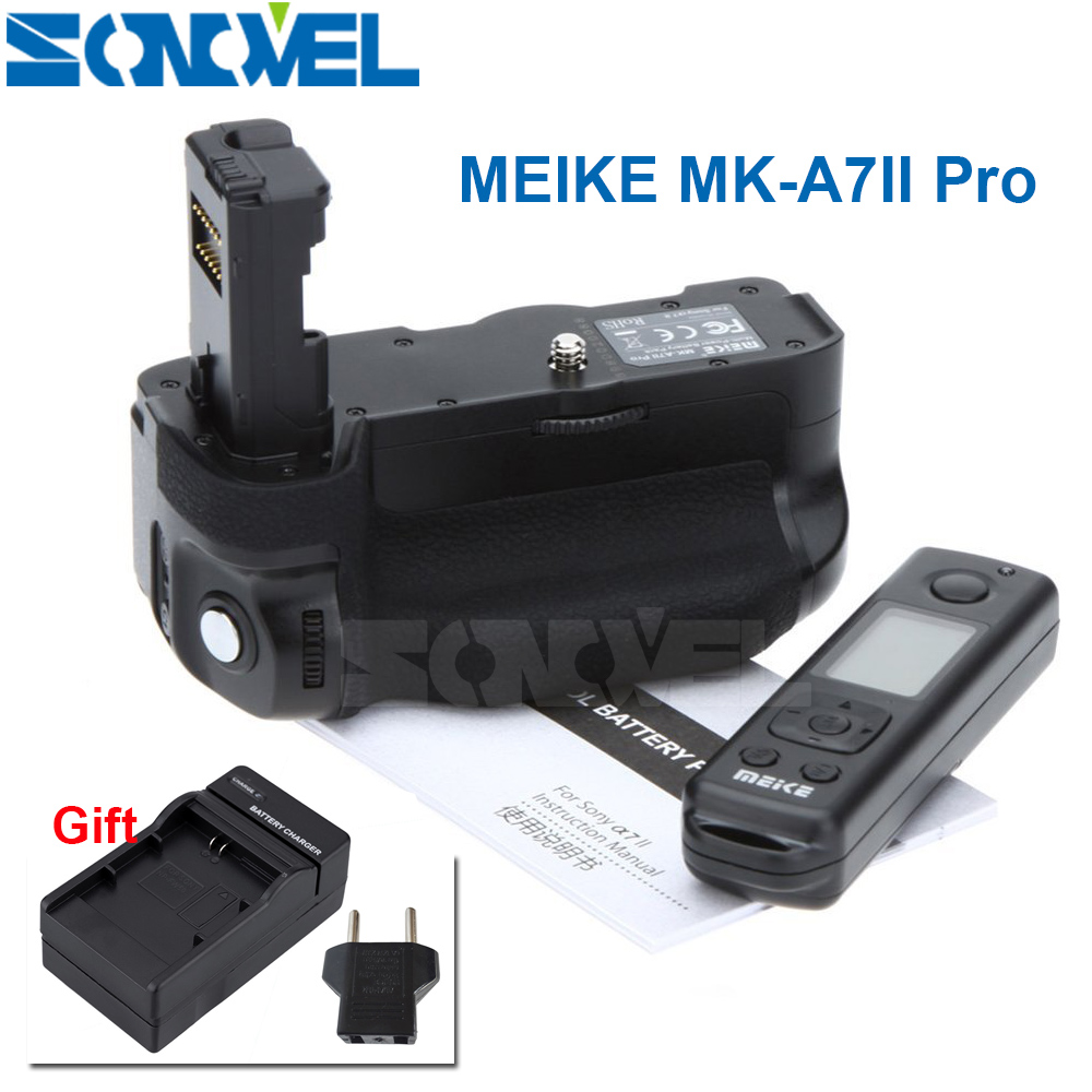 Meike MK-A7II Pro Built-in 2.4G Wireless Remote Control Battery Grip Holder for Sony A7 A7 II A7SII A7MII A7RII As Sony VG-C2EM meike mk dr750 built in 2 4g wireless control battery grip for nikon d750 as mb d16 wireless remote