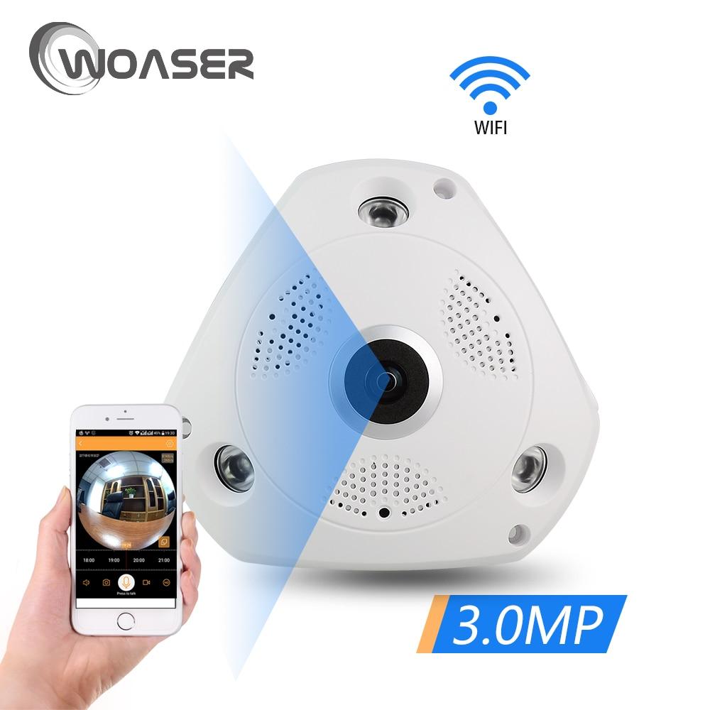 все цены на WOASER HD Mini 2043X1536 FishEye IP Camera 360 degree Full View CCTV Camera 3.0MP Network Home Security WiFi Camera Panoramic онлайн