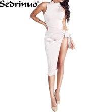 Для летних вечеринок Платья для женщин 2017 Для женщин сбоку Разделение Винтаж платье спинки Платье с круглым воротником Элегантные сарафаны женская одежда Повседневное