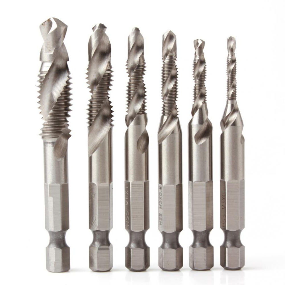цена на 6pcs Hex Shank HSS Countersink Deburr Combination Drill Tap Screw Bit Set M3-M10