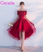 2019 Latest Dark Red High Low Short Cocktail Dresses Off the Shoulder Lace Tulle Corset Back Teens Girls Informal Cocktail Party