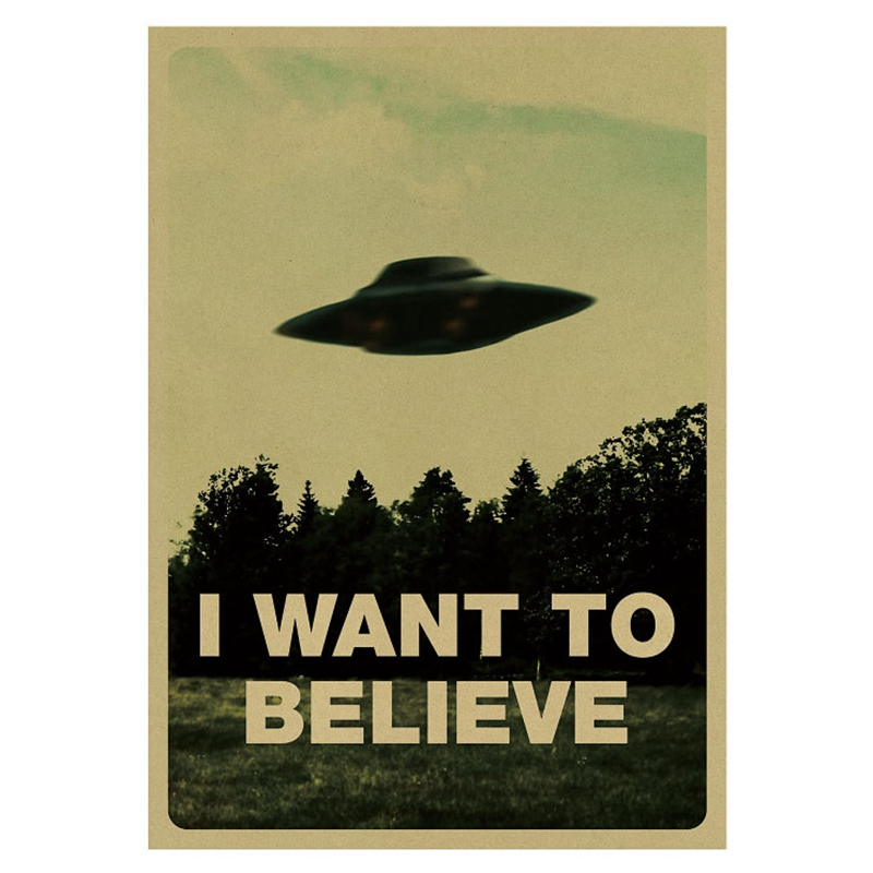 "Vintage Style Classic Poster /""I Want To Believe/"" Wall Stickers Home Office Decor"