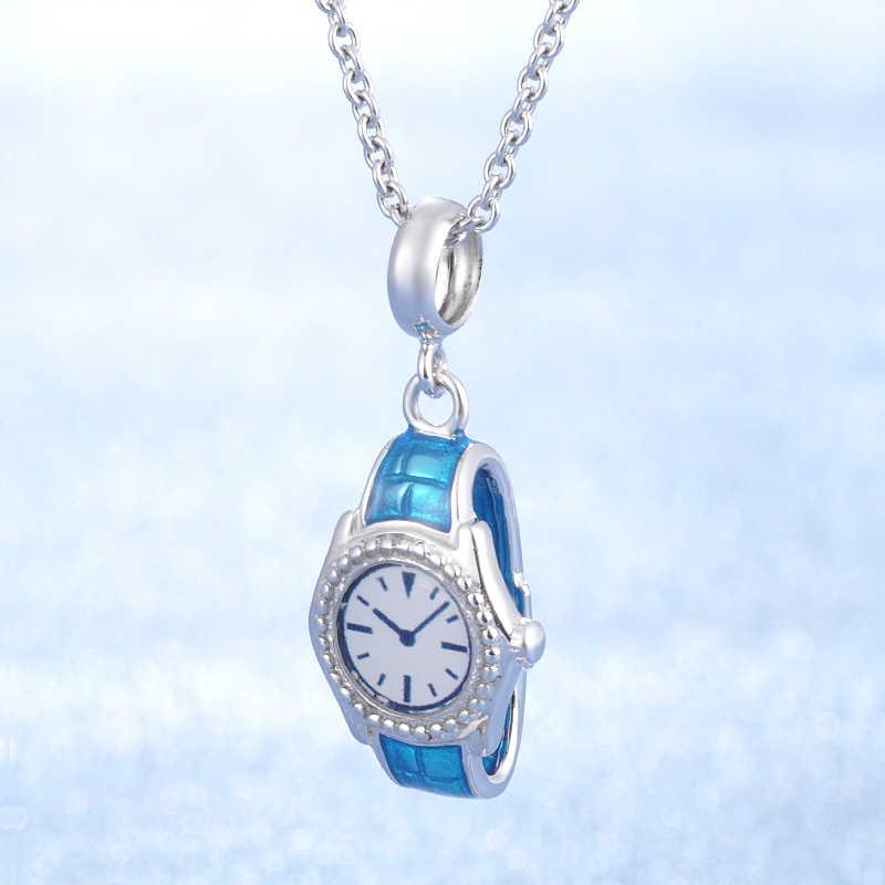 b5687a42b33 100% Genuine 925 Sterling Silver Blue Enamel Watch Pendant Charm fit  pandora Women Bracelet Sterling Silver Jewelry