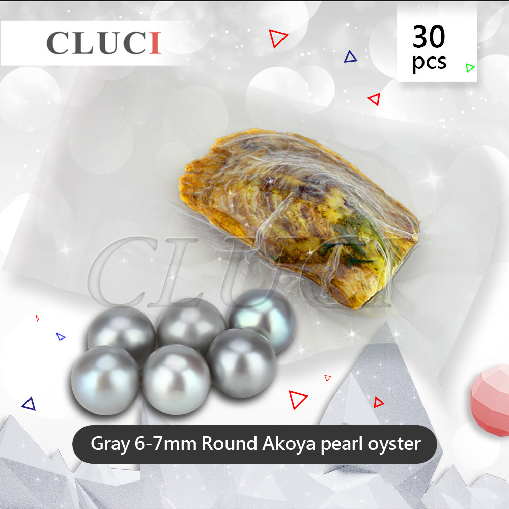 CLUCI 6-7mm round akoya oysters with round pearls, gray colors 30pcs/pack, natural saltwater pearls beads for necklaces women cluci 30pcs 6 7mm lime green pearls oysters free shipping charms pearls to make bracelets rings necklaces