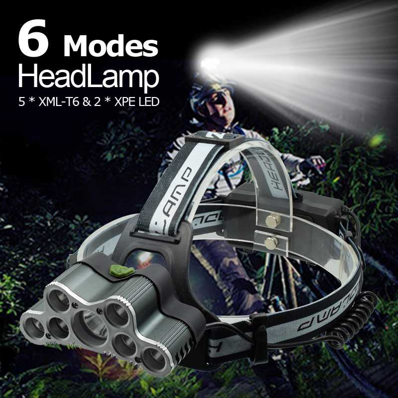 High Power 7 LED Head Torch 20000 Lumens LED Headlamp USB Rechargeable XML T6 Lamp Warning Light Frontal Headlight + USB Cable sitemap 7 xml