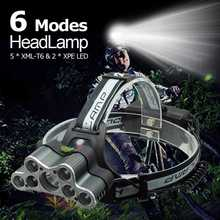 High Power 7 LED Head Torch 20000 Lumens LED Headlamp USB Rechargeable XML T6 Lamp Warning Light Frontal Headlight + USB Cable