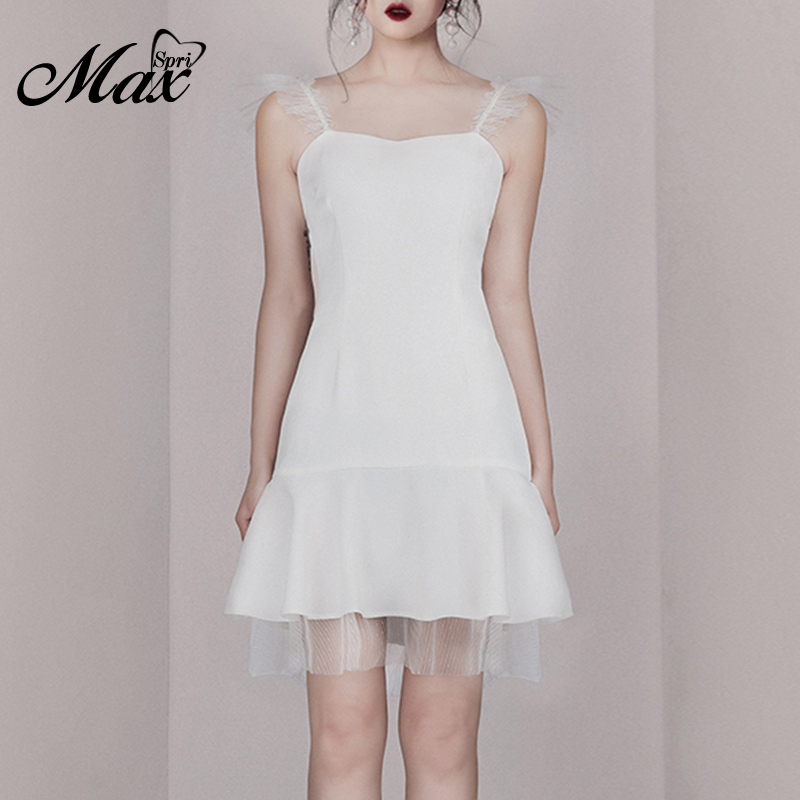 Max Spri 2019 New Style Women Dress Spaghetti Strap Sleeveless A-line Lace Hem Mini