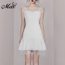 Max Spri 2019 New Style Women Dress Spaghetti Strap Sleeveless A-line Lace Hem Mini Dress lace insert sleeveless a line dress