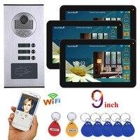MOUNTAINONE 9 inch Wired Wifi 3 apartment video door phone intercom system RFID IR CUT HD 1000TVL camera doorbell camera