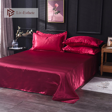 Liv-Esthete 2019 Hot Sale Wholesale Luxury 100% Satin Silk Wine Red 1PCS Flat Sheet Silky Queen King Bed Sheets For Women Men