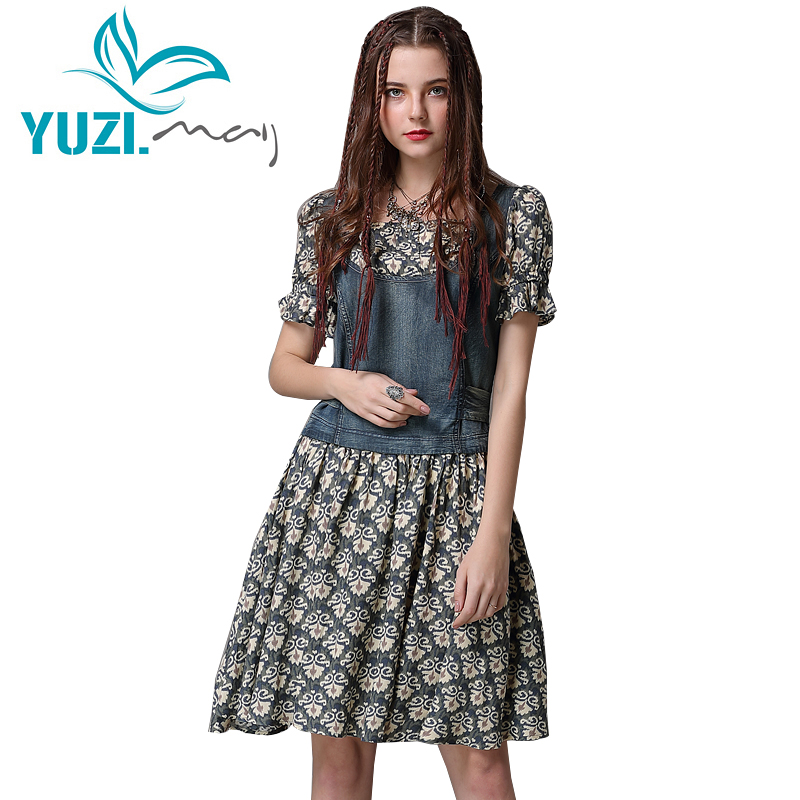 Summer Dress 2018 Yuzi may Boho New Women Dresses O Neck A line Short Sleeve Denim
