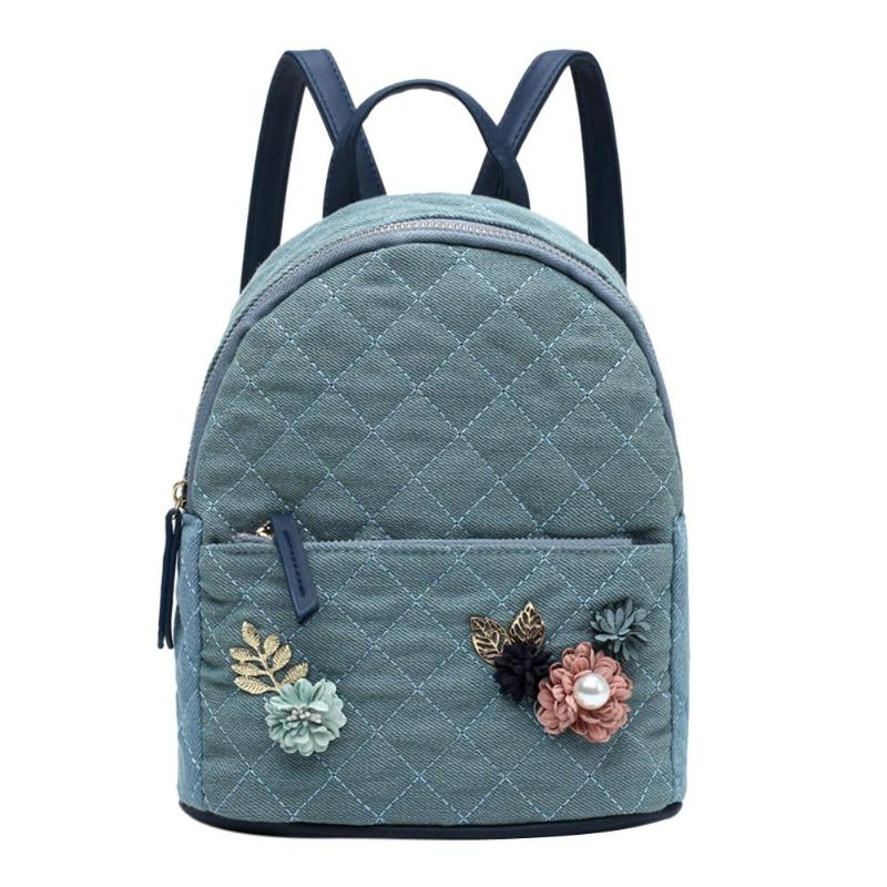 Women Backpack Flowers Appliques Diamond Lattice Shoulder Bag Teen Girl Zipper Canvas School Rucksack