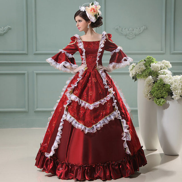 66db6d53df17 2018 Marie Antoinette Princess Period Party Dress Wine Red Floral Printed  Renaissance Court Lace Princess Ball Gowns For Women