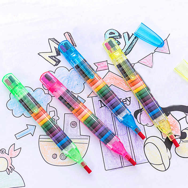 4 Pcs/set Kids Toys 20 Colors Wax Crayon Painting Tool Early Educational Oil Pastels Graffiti Pen Art Gift for Children