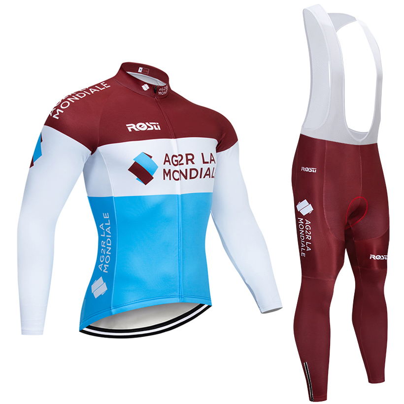 New 2019 ag2r TEAM Winter Cycling JERSEY Bike Pants set mens 9D pads Ropa Ciclismo pro Thermal fleece bicycling Maillot Culotte AG2R La Mondiale 2019