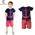 2016 Summer Children's Set Baby Boys Clothes Cartoon Print Shirts And Striped Boy Pants Set Kids Casual Clothing Set  For Boys