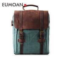 EUMOAN Backpack male high school student large capacity school bag female European and American computer travel bag retro trend