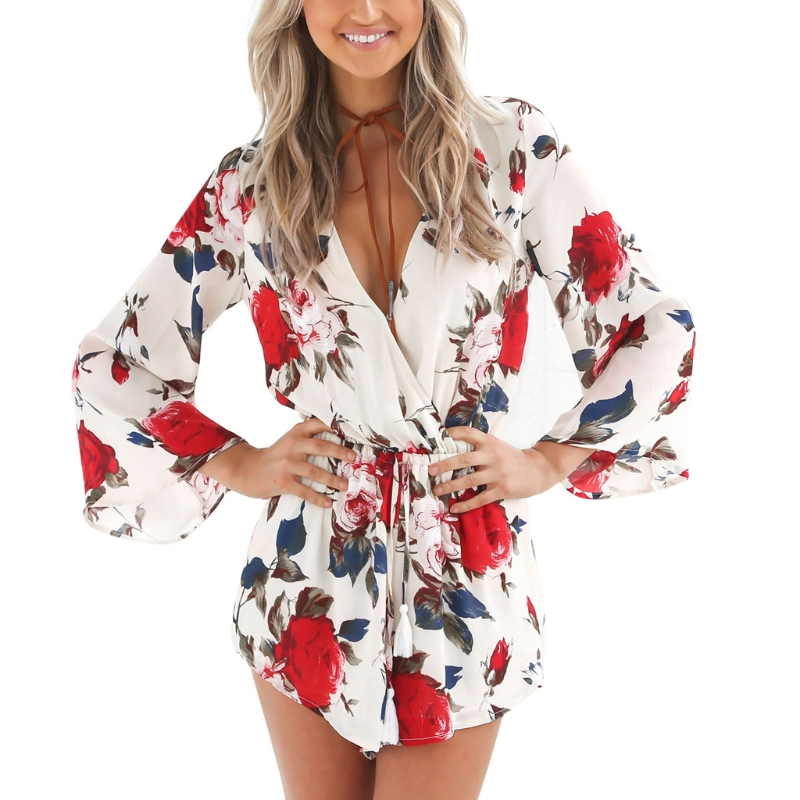 Womens Summer Boho Sexy Deep V Neck Floral Print Romper Jumpsuit