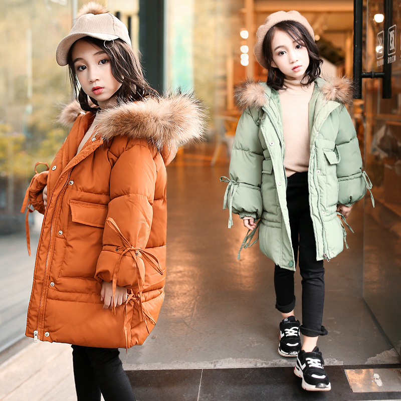 Teenage Girls Thick Cotton-Padded Kids Outerwear & Coats Fashion 2018 Winter Children Warm Tops Clothes Fur Hooded Down Jackets new 2018 fashion fur hooded long cotton jackets for little teenage girls outerwear tops kids thick warm coats padded clothing